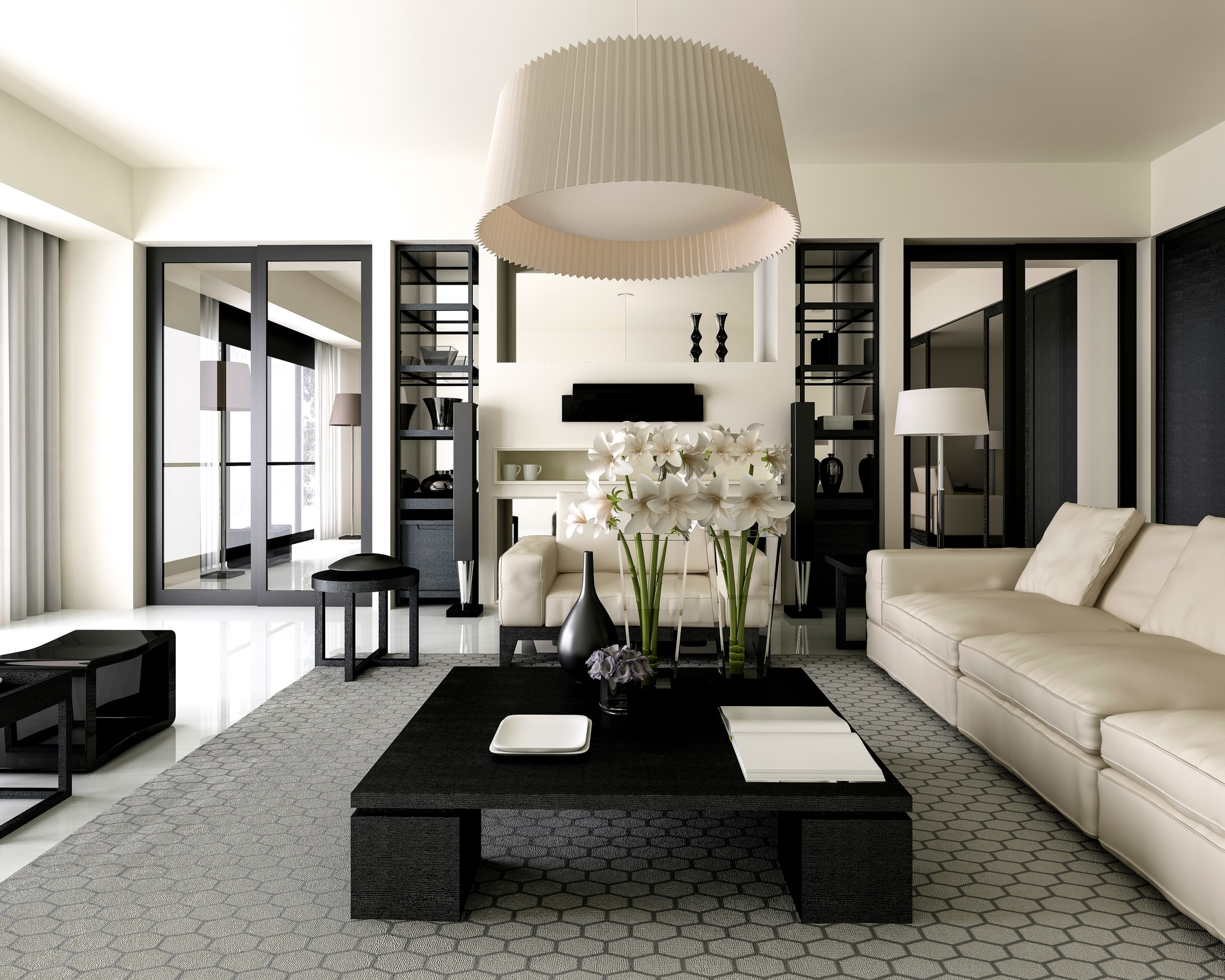 Luxury living room with cream and black furnishings