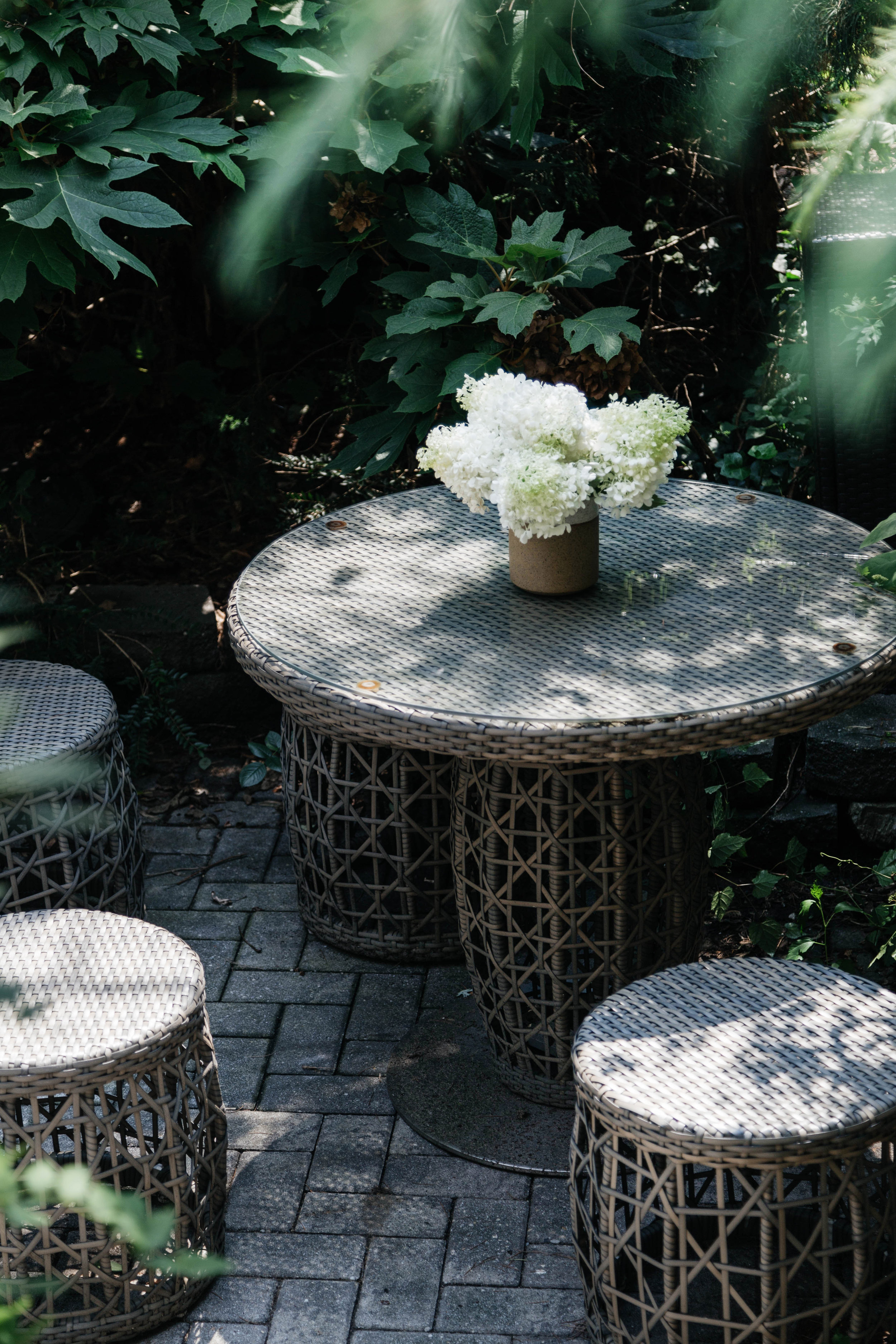 Outdoor area with round stools