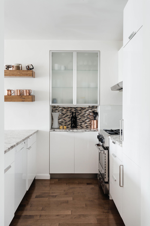 Small kitchen with tile backsplash