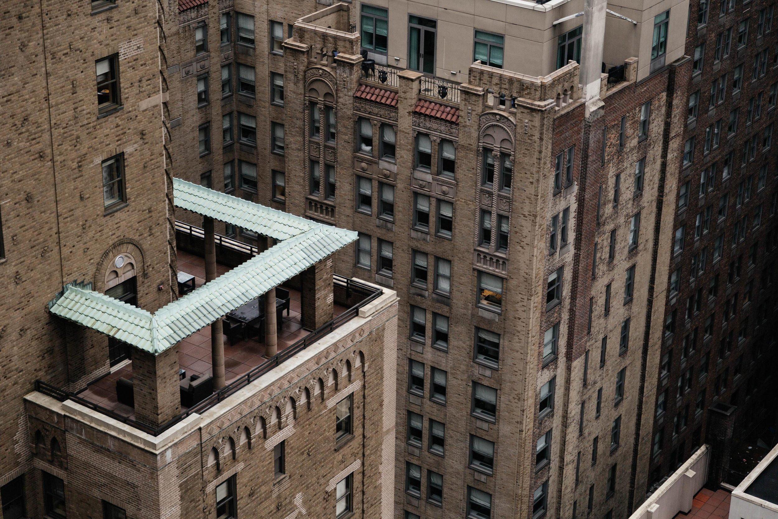 View of New York City brick buildings