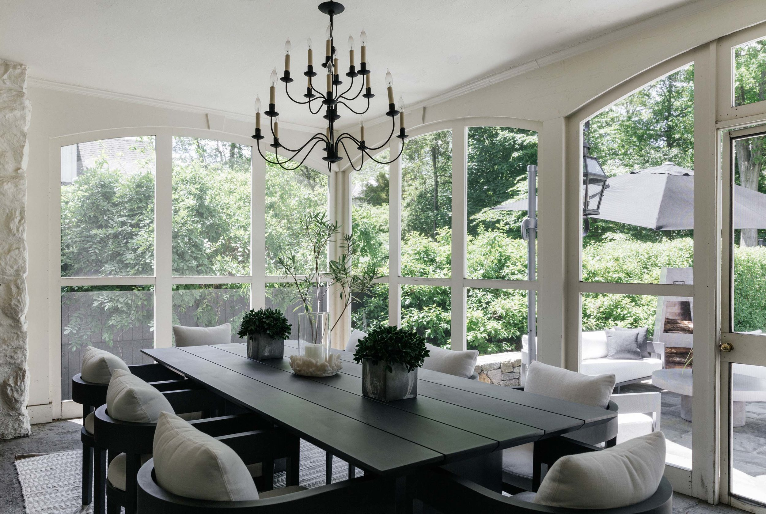 Modern dining room with garden view