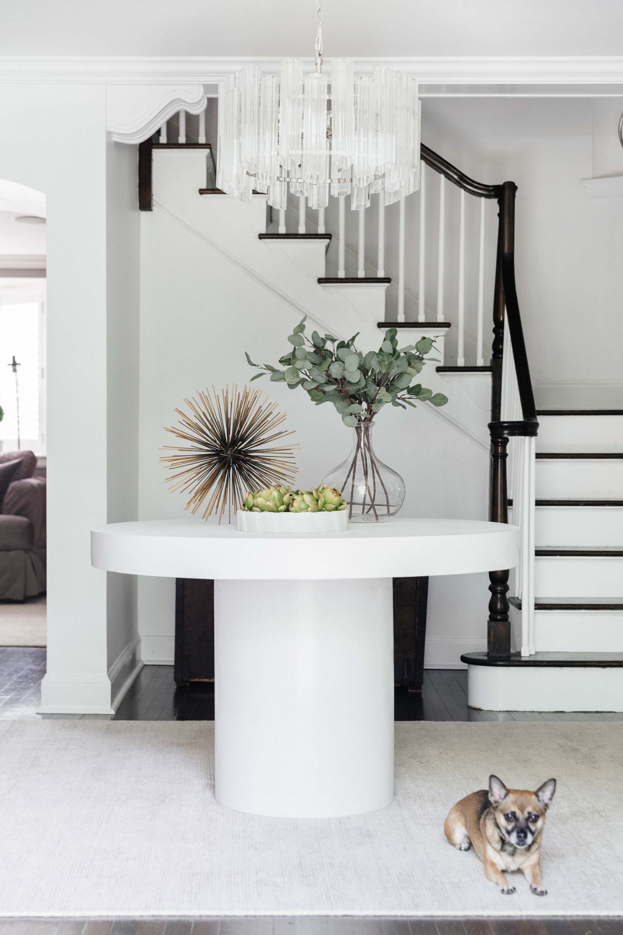 House interior with wooden stairway, round table, plant on top and a cute dog