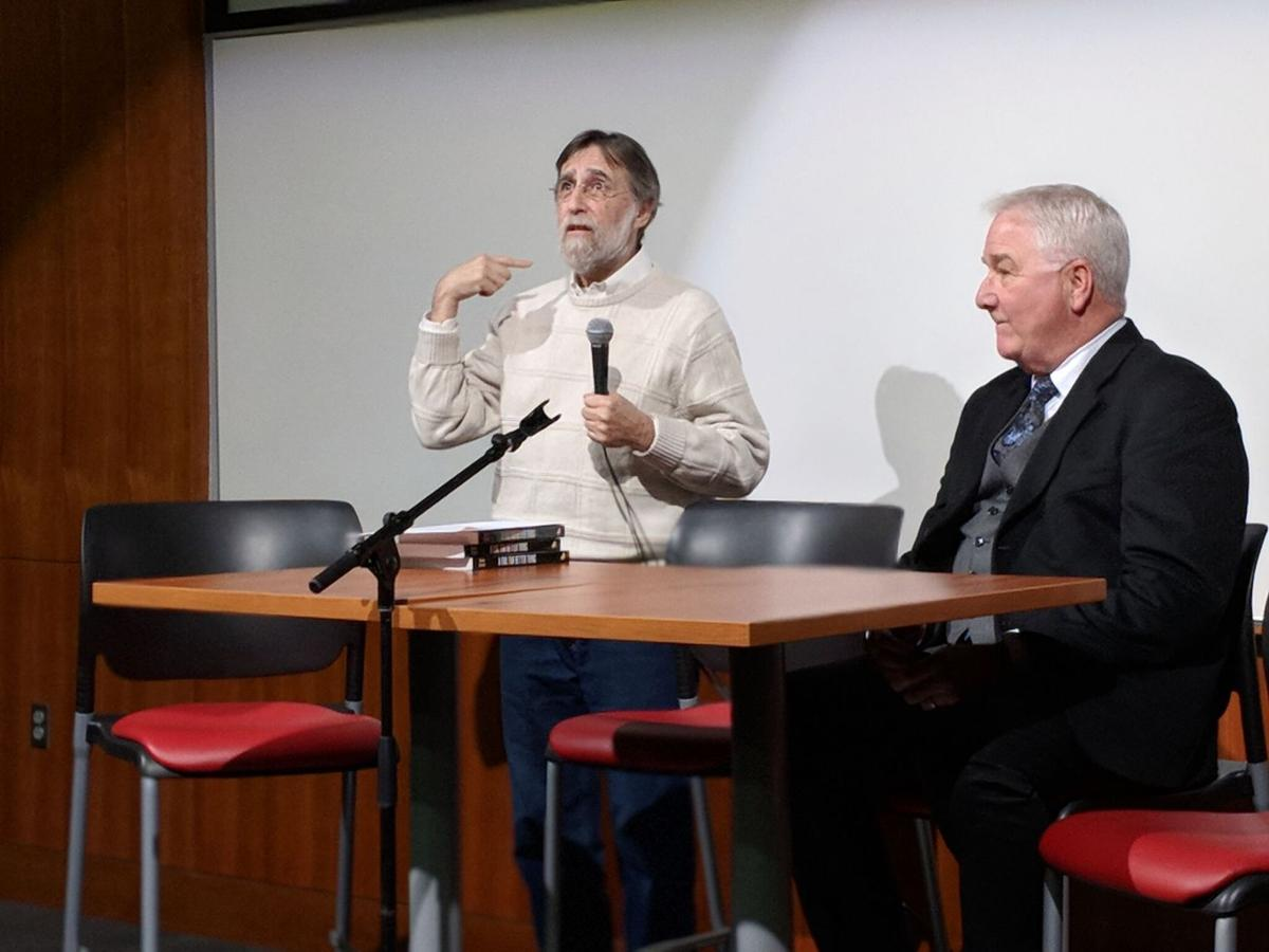 "Steven Rosenfield (left), Jens Soering's attorney, speaks to Liberty University students during a Q&A session following a showing of the documentary ""Killing for Love"" as J. Thomas McClintock (right), LU's director of forensic science, looks on at Liberty University on Friday, Dec. 15, 2017, in Lynchburg, Va."