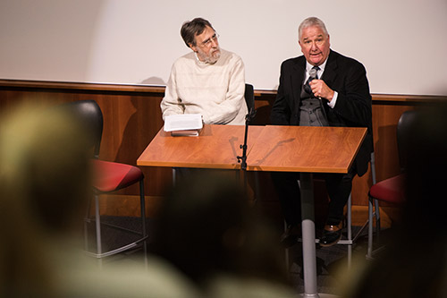 Dr. McClintock (right) and attorney Steve Rosenfield hosted a screening of the documentary film 'Killing for Love,' about the case they are working on, at Liberty in December.
