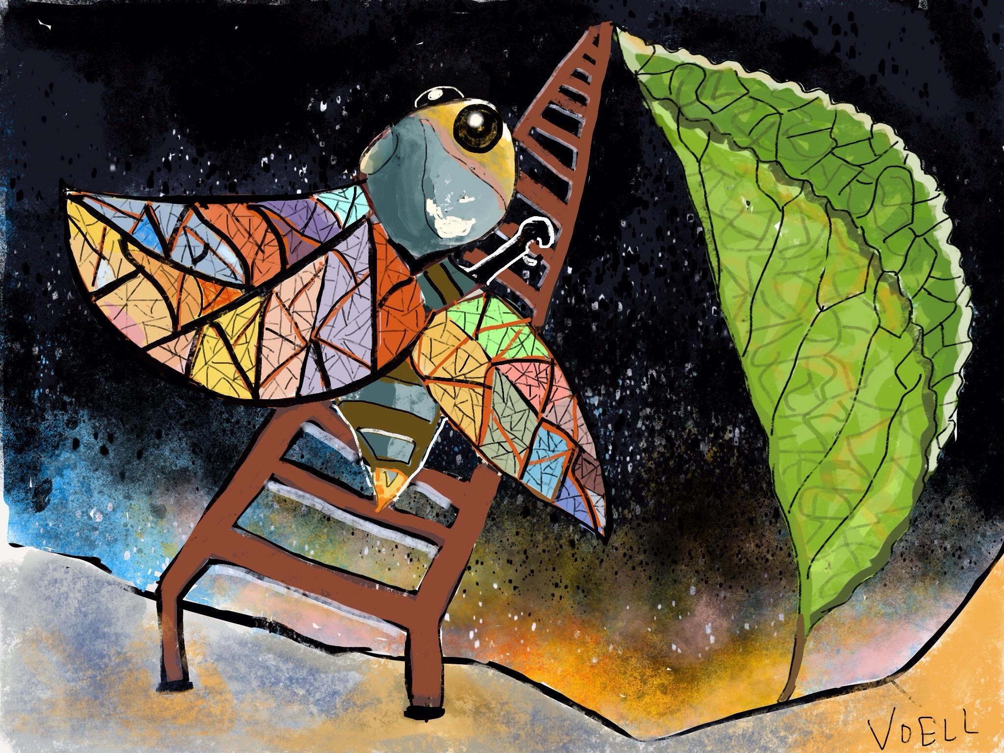 Ladder to the Top of the Leaf -- digital illustration, 2018