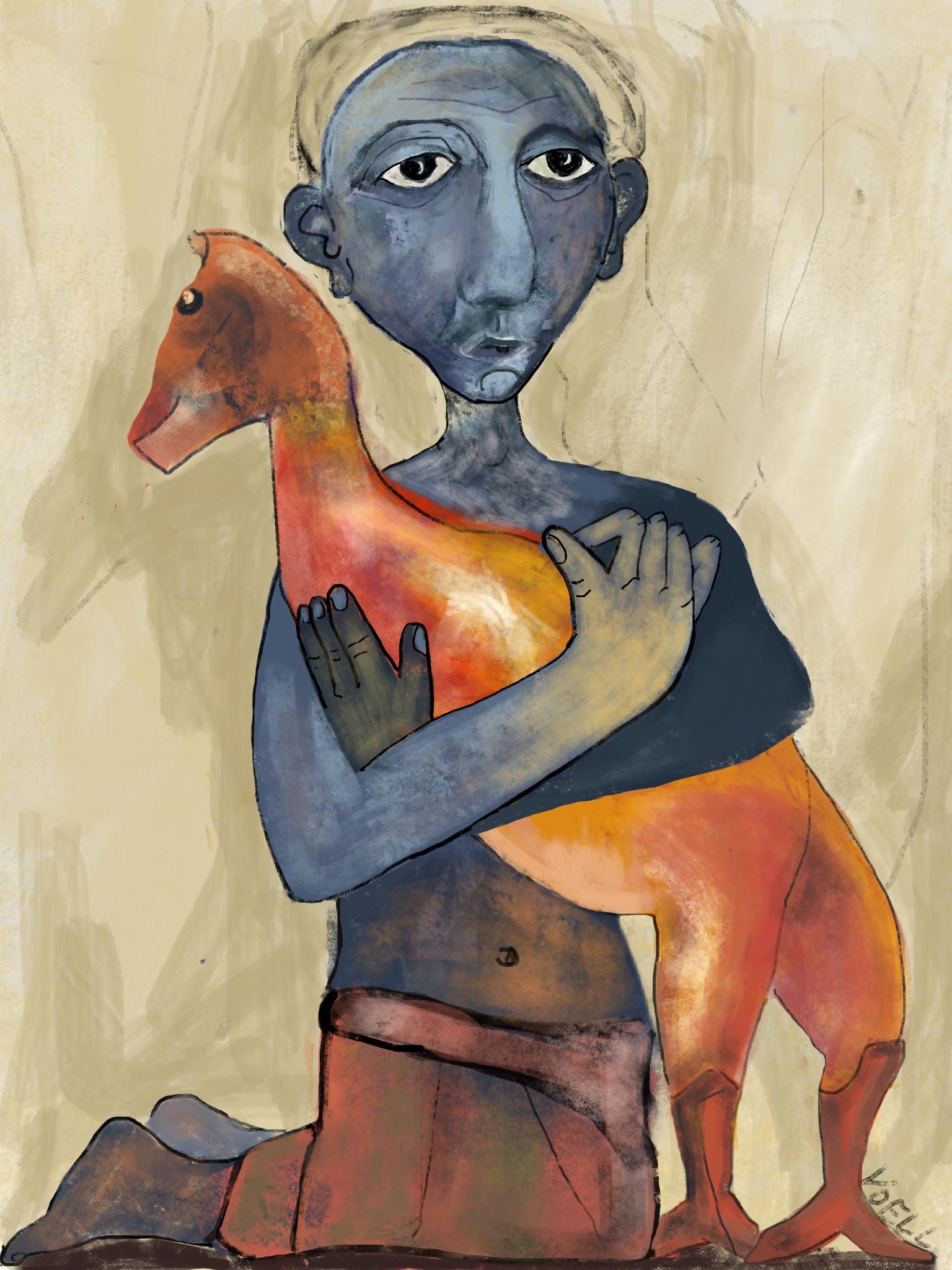 He Cradles the Creature — digital illustration, 2019