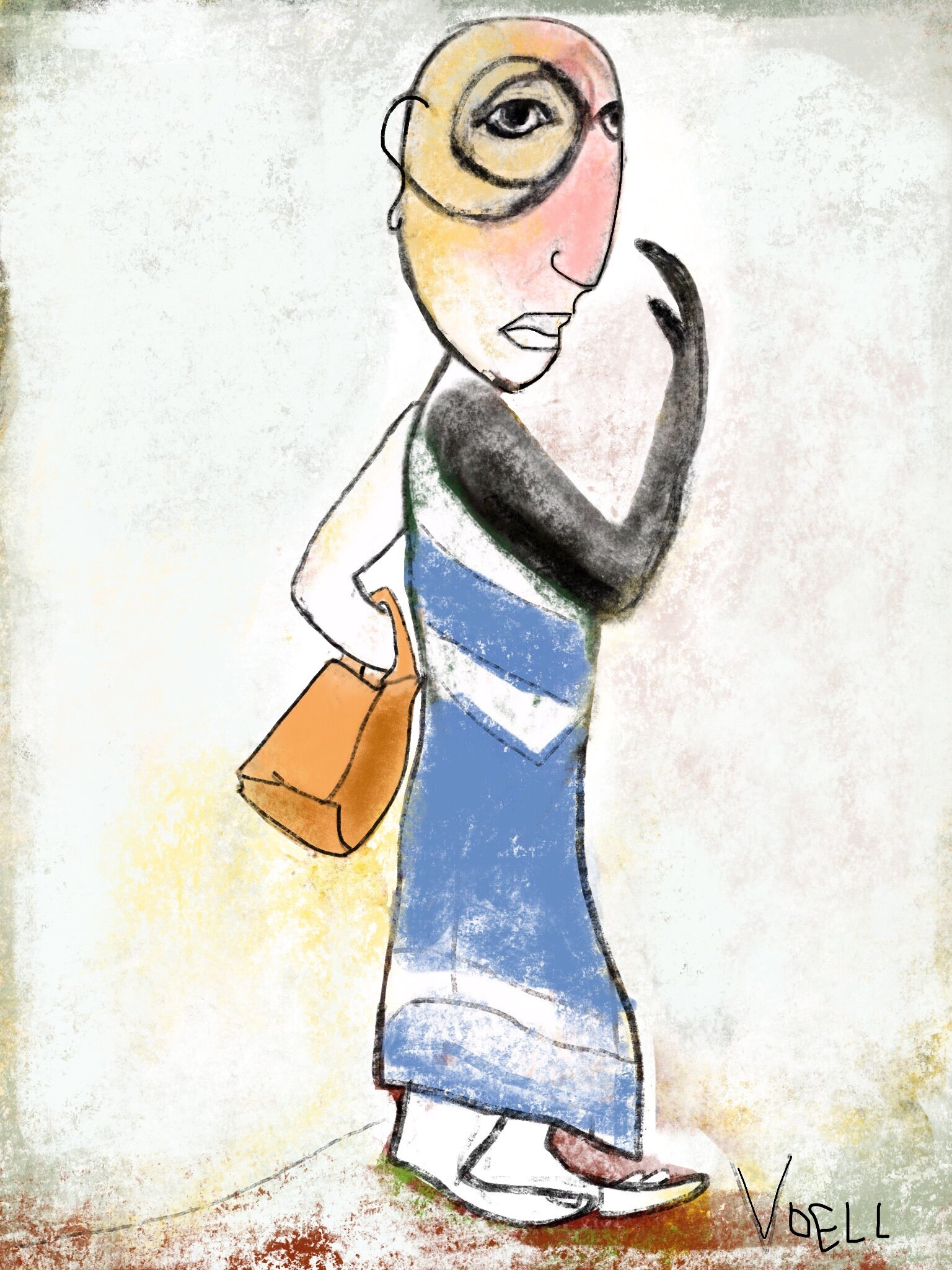 Self-portrait in day-old frock and bag with no-ad periodicals and stack of marigold ventricles -- illustration, 2018