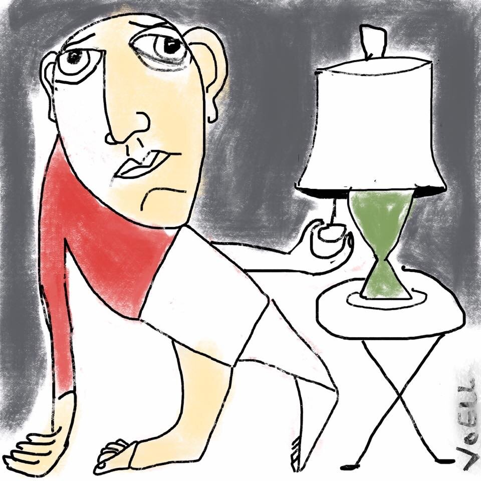 Self-portrait with lamp -- 2019