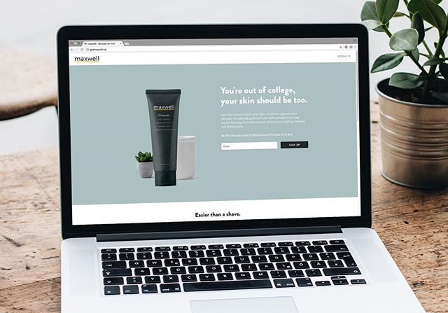 Landing page for a new men's skincare line in the works.