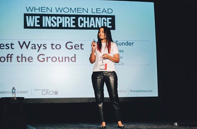 #tbt to last year when our founder, CEO and #cannaboss, Koushi Sunder, took the stage at the @womengrow Leadership Summit #womengrow #cannapreneur  #womenincannabis