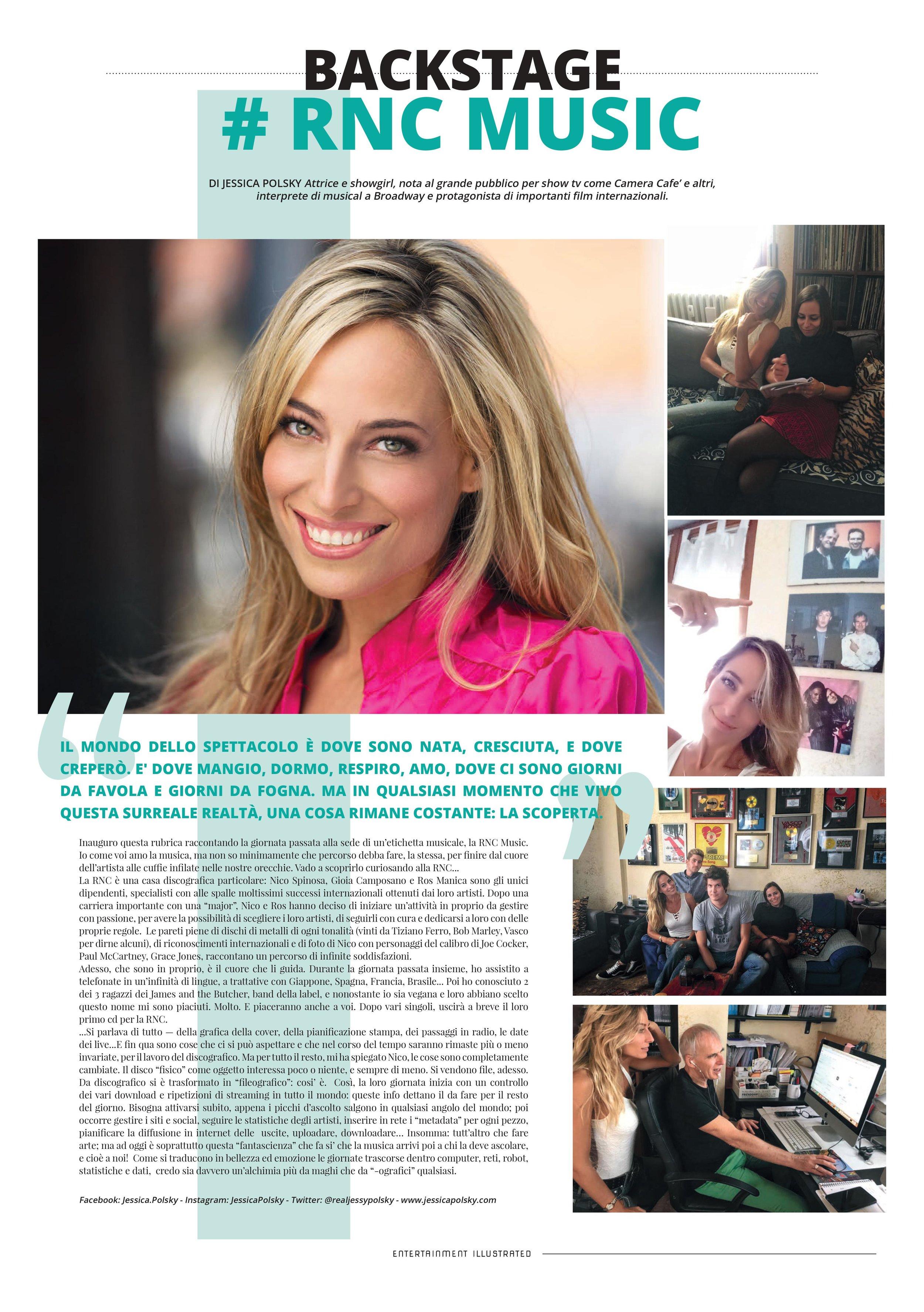La rubrica mensile di Jessica sul giornale Entertainment Illustrated