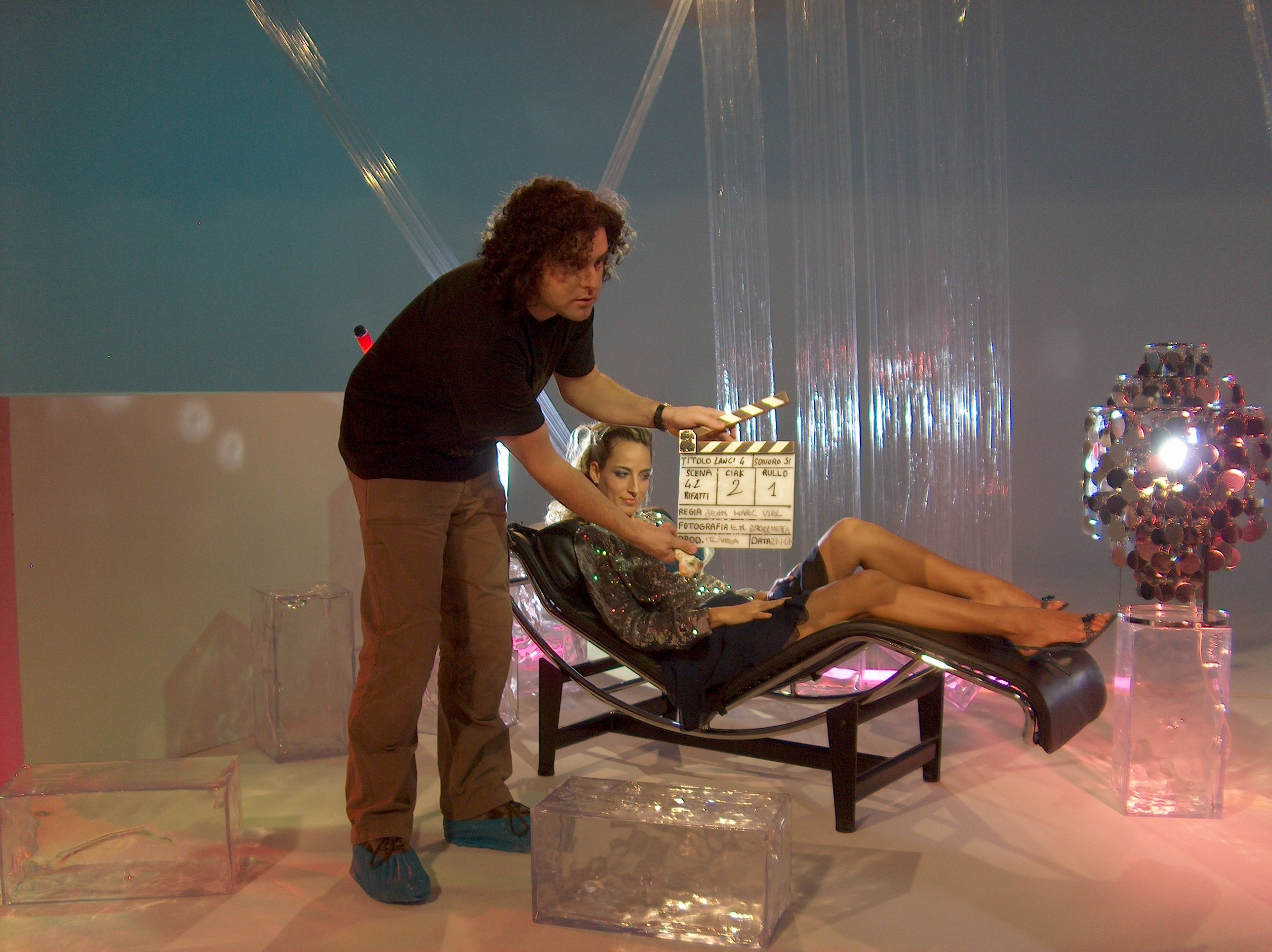 """Jessica on the set of her network sketch comedy show """"Sputnik"""", of which she was host and lead cast member"""