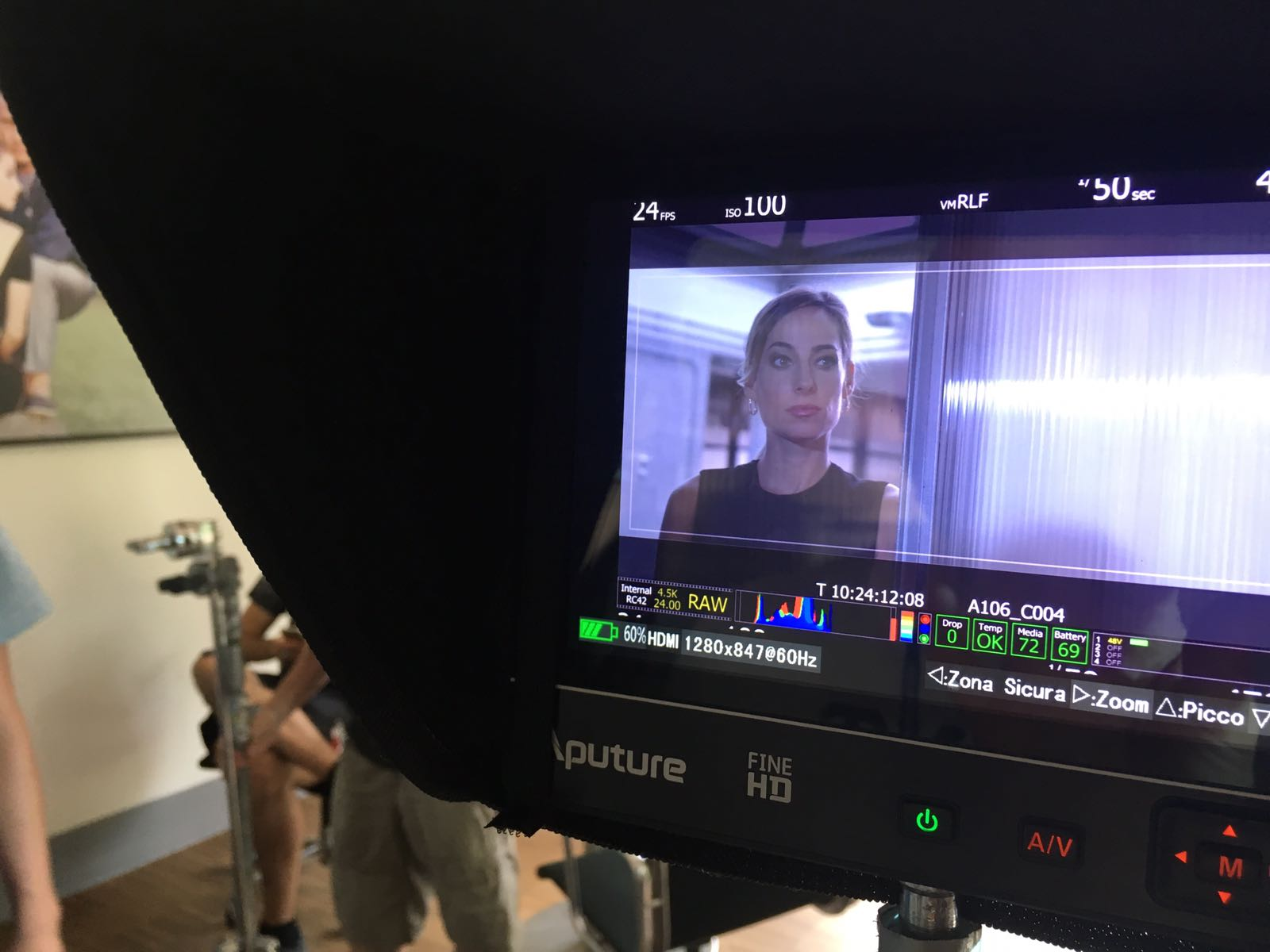 Jessica on the set of a new network miniseries