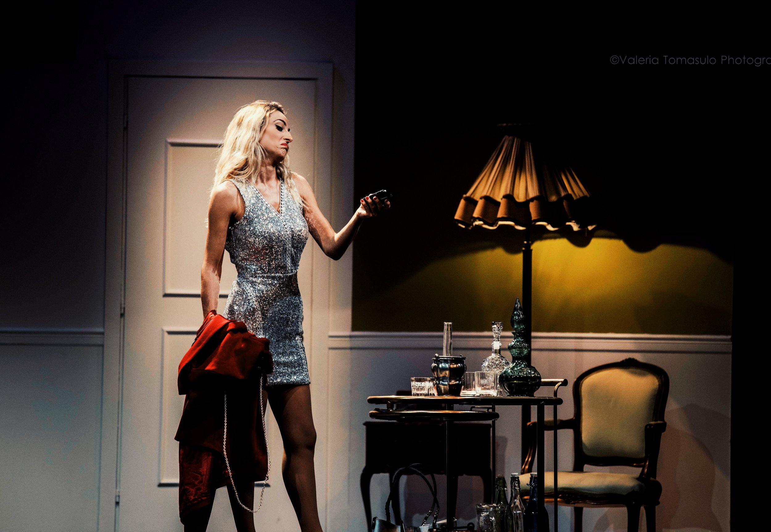 """Jessica onstage during a scene from """"The Divorcees' Club"""""""