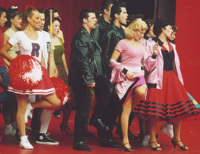 """Jessica, as """"Patty Simcox"""", on the World Tour of """"Grease"""""""