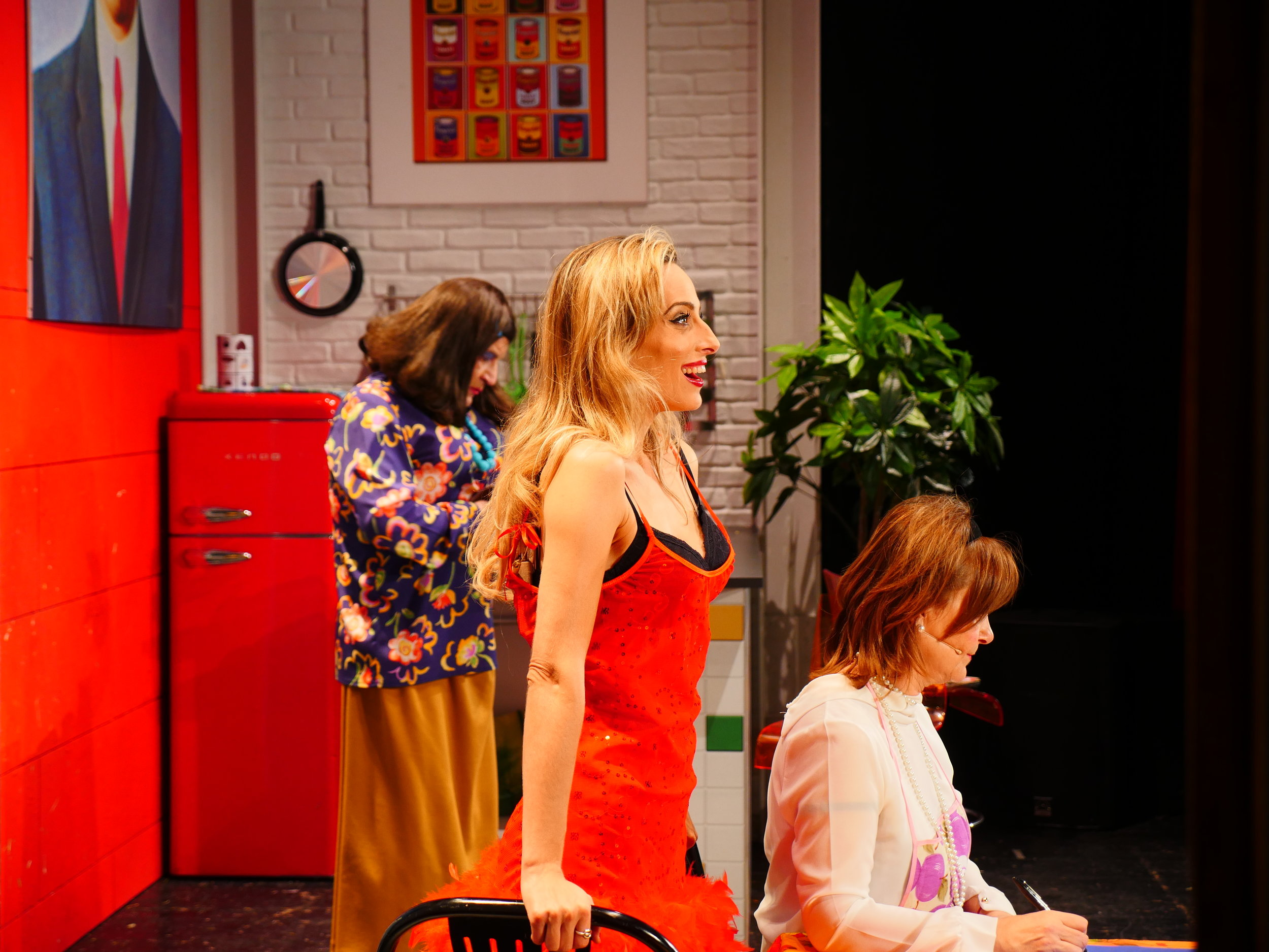 """Jessica onstage in a scene from """"The Divorcees' Club"""""""