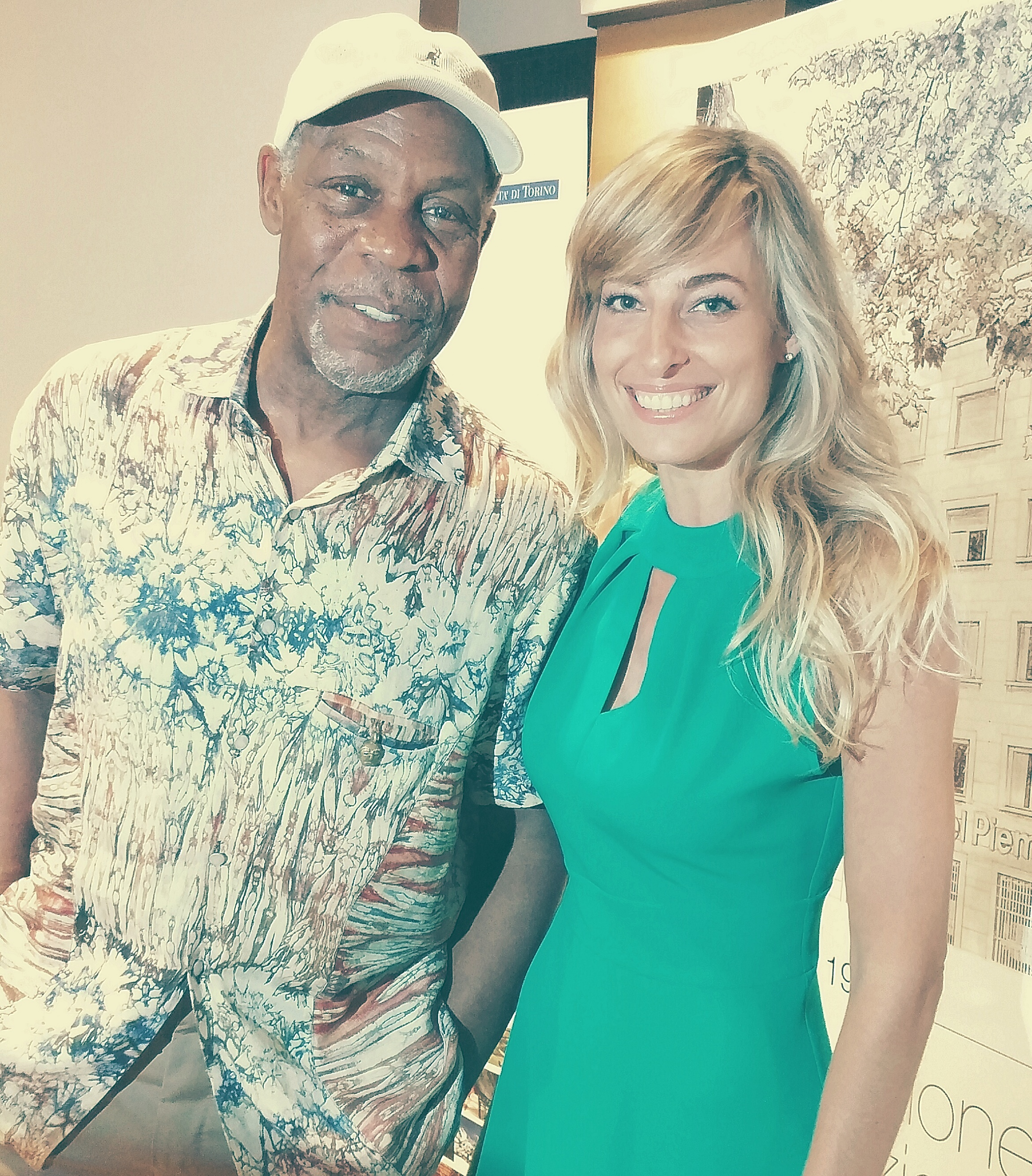 "Jessica and actor Danny Glover at the press conference for their feature film ""Ulysses"""