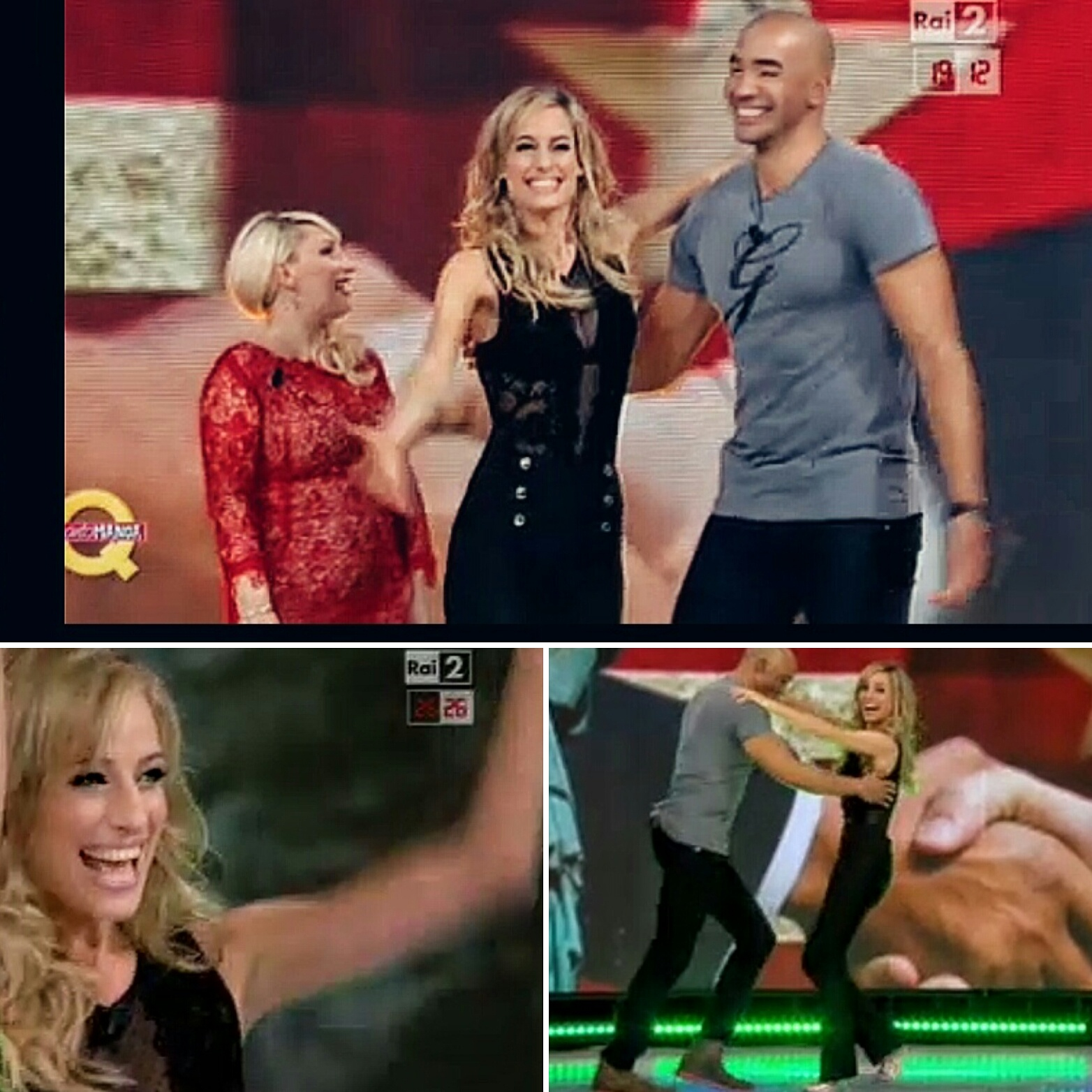 "Jessica as special guest on the tv show ""Quanto Manca"" with Olympian Amaurys Perez and comedian Katia Follesa"