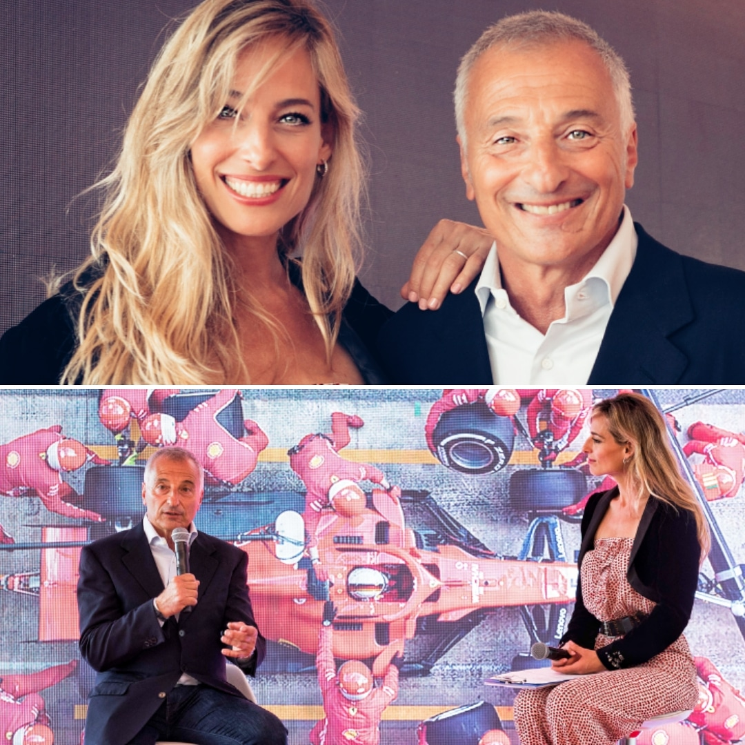 Jessica interviews legendary Formula 1 racecar driver Riccardo Patrese while hosting a corporate event