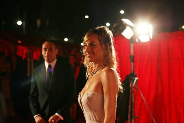 Jessica and press liaison Roberto Bisesti on the red carpet of the premiere of a major theatrical production