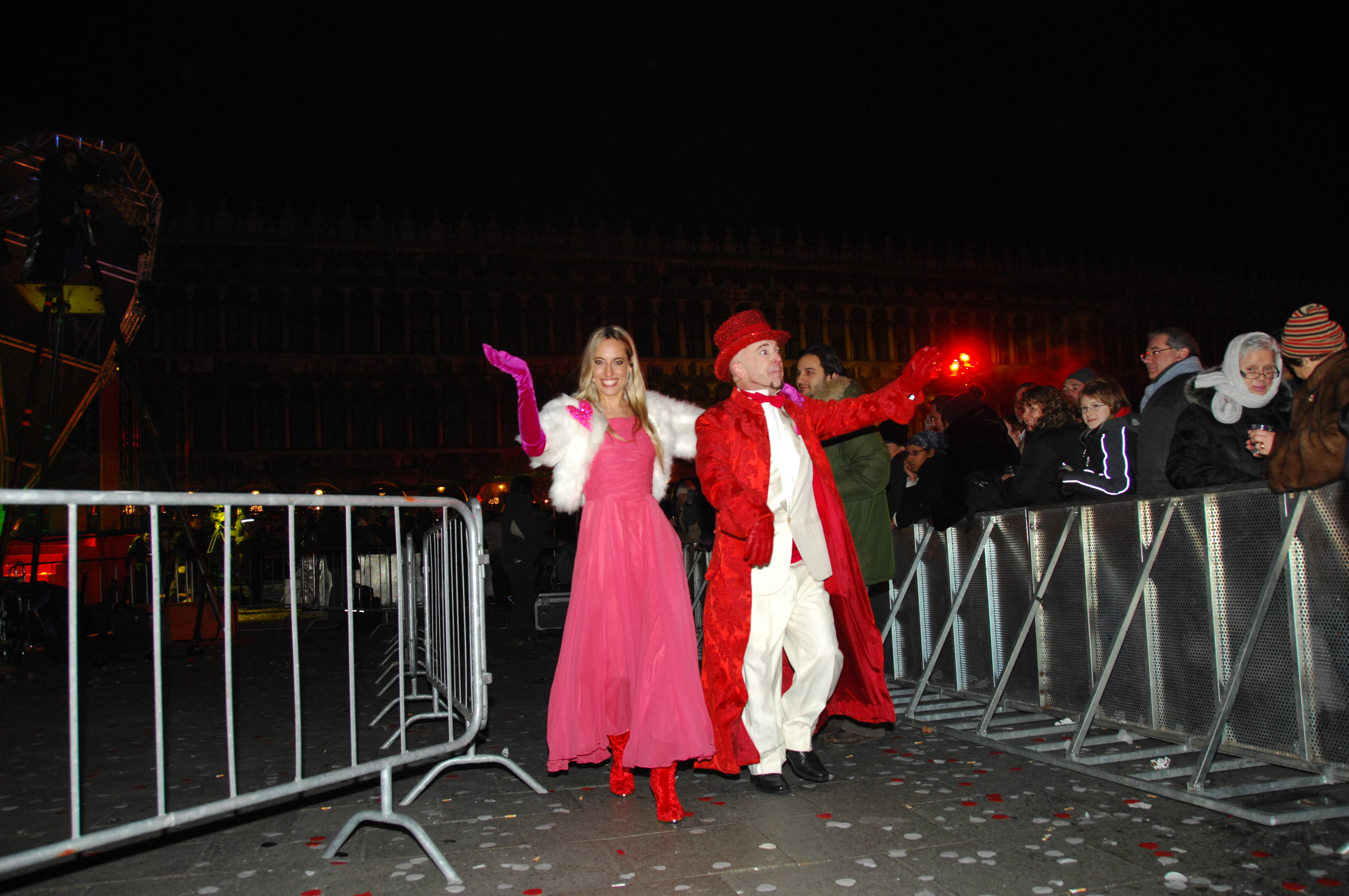 Jessica heading to the stage to host Venice's New Year's Eve bash in St.Mark's Square, with Doug Jack