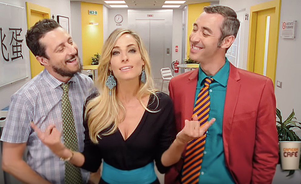 """Jessica in a scene from the recent network reboot of the sitcom """"Camera Cafe' """" with co-stars Luca and Paolo"""