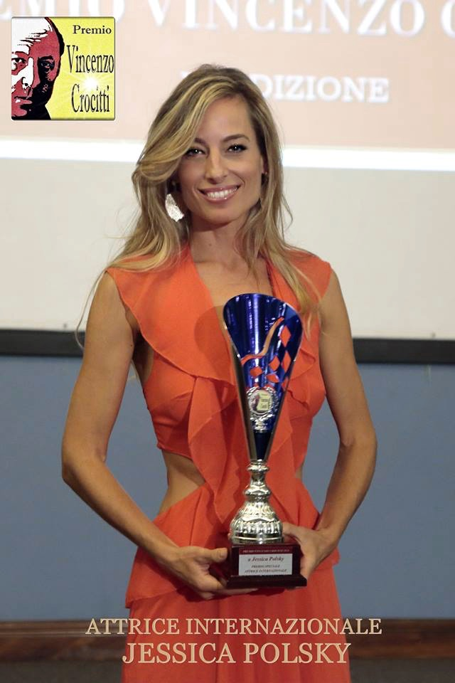 Jessica accepts Italy's prestigious Vincenzo Crocitti Acting Award 2018