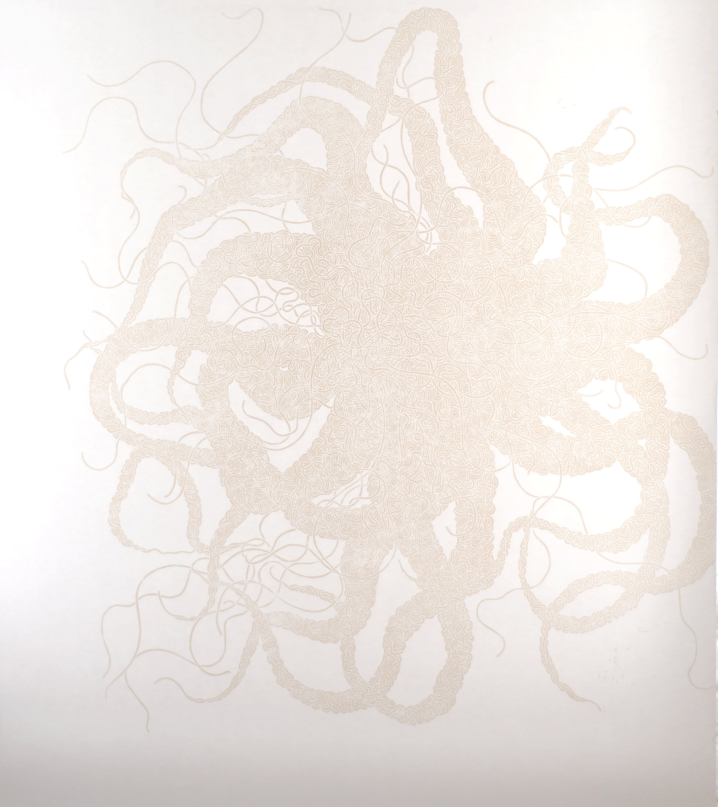 Abyss 004 , 2011,140cmx120cm.Woodcut printed white on white, edition of 3.