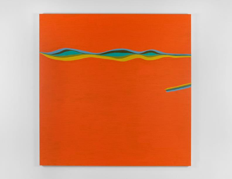 """Orange Wavy Line"", 2007 , oil on canvas, 72 x 72 inches"