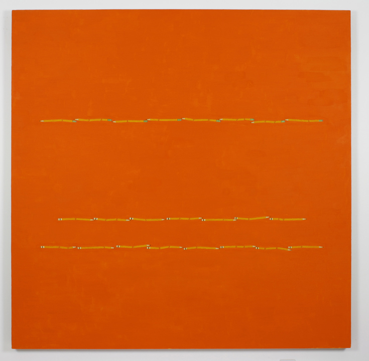 """3  Pencil Lines, Orange"", 2005 , oil on linen, 60 x 60 inches"