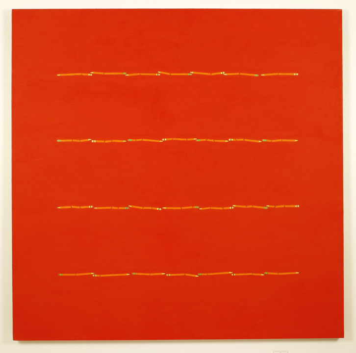 """2 Red Pencil Lines, Red"", 2005 , oil on linen, 60 x 60 inches"
