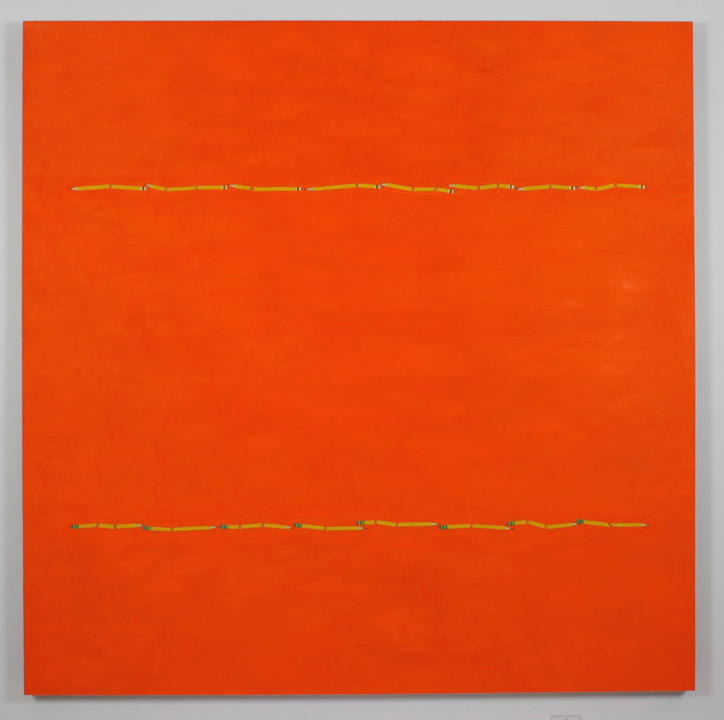 """2 Pencil Lines, Orange"", 2005 , oil on linen, 60 x 60 inches"