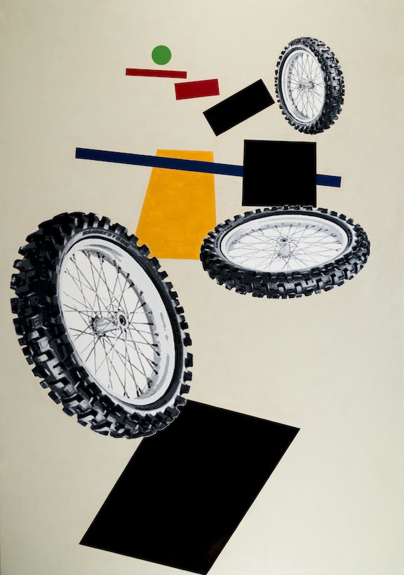 """After Malevich w/3 Tires"", 2012 , oil on canvas, 120 x 84 inches"