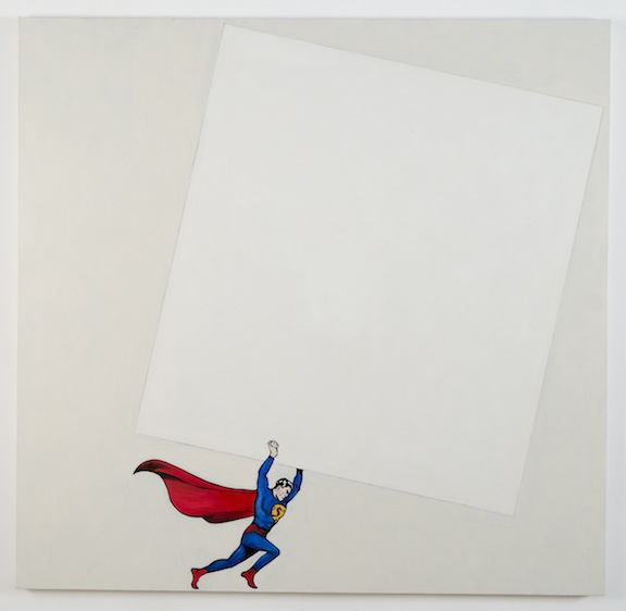 """After Malevich w/Superman"", 2012 , oil on canvas, 64 x 66 inches"