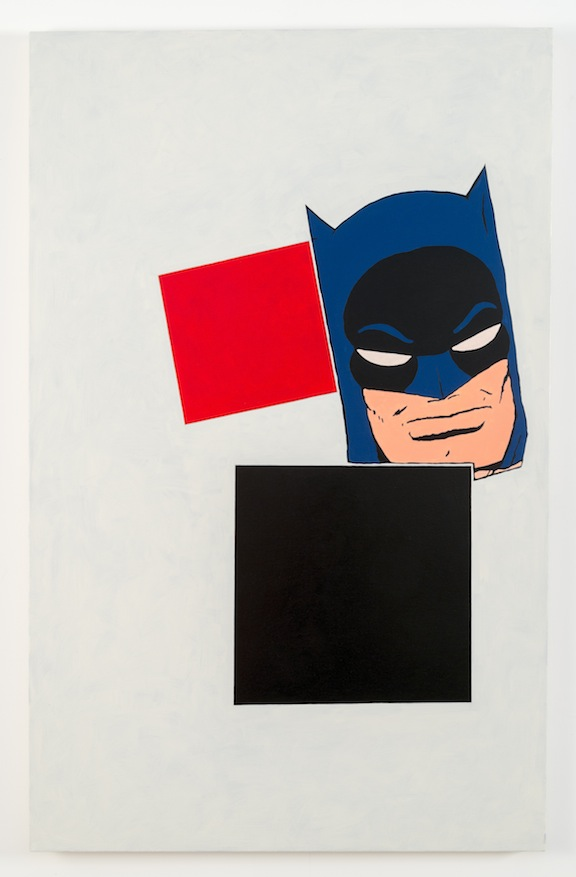"""After Malevich w/Batman"", 2012 , oil on canvas, 60 x 38 inches"