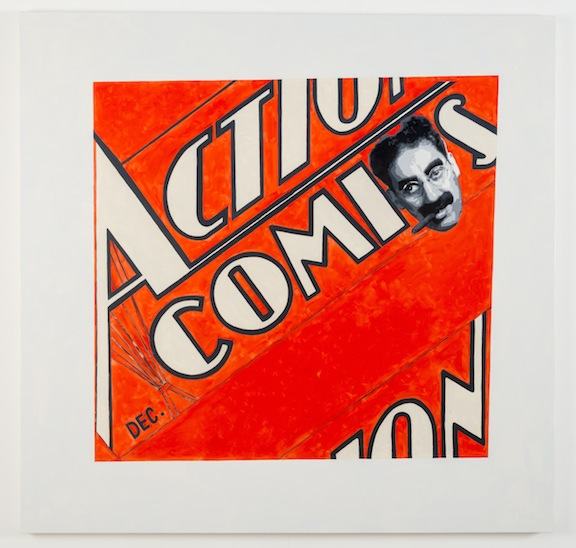 """After Malevich (Action Comics)"", 2012 , oil on canvas, 64 x 66 inches"