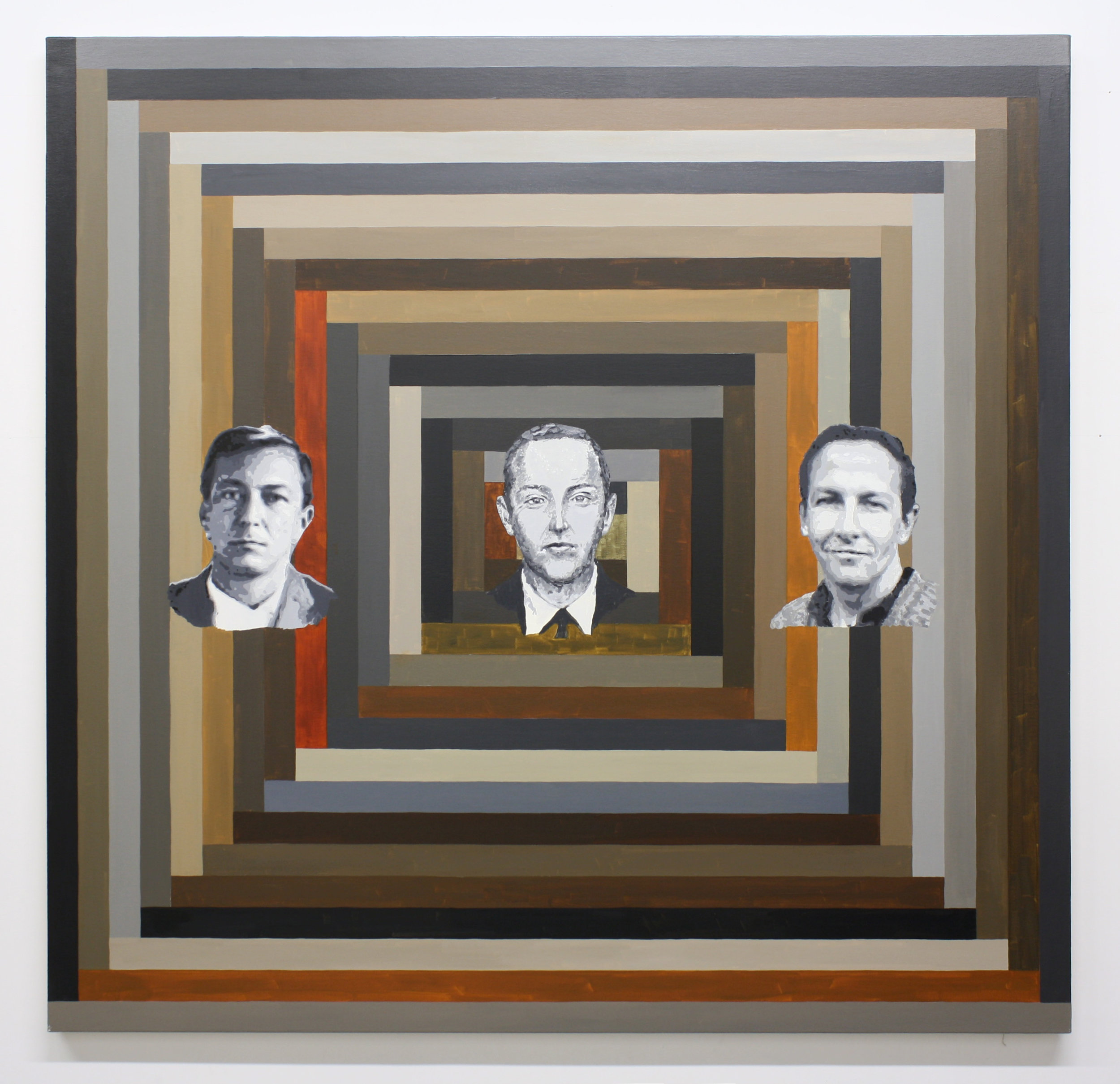 """3 Men"", 2014 , oil on canvas, 64 x 66 inches"