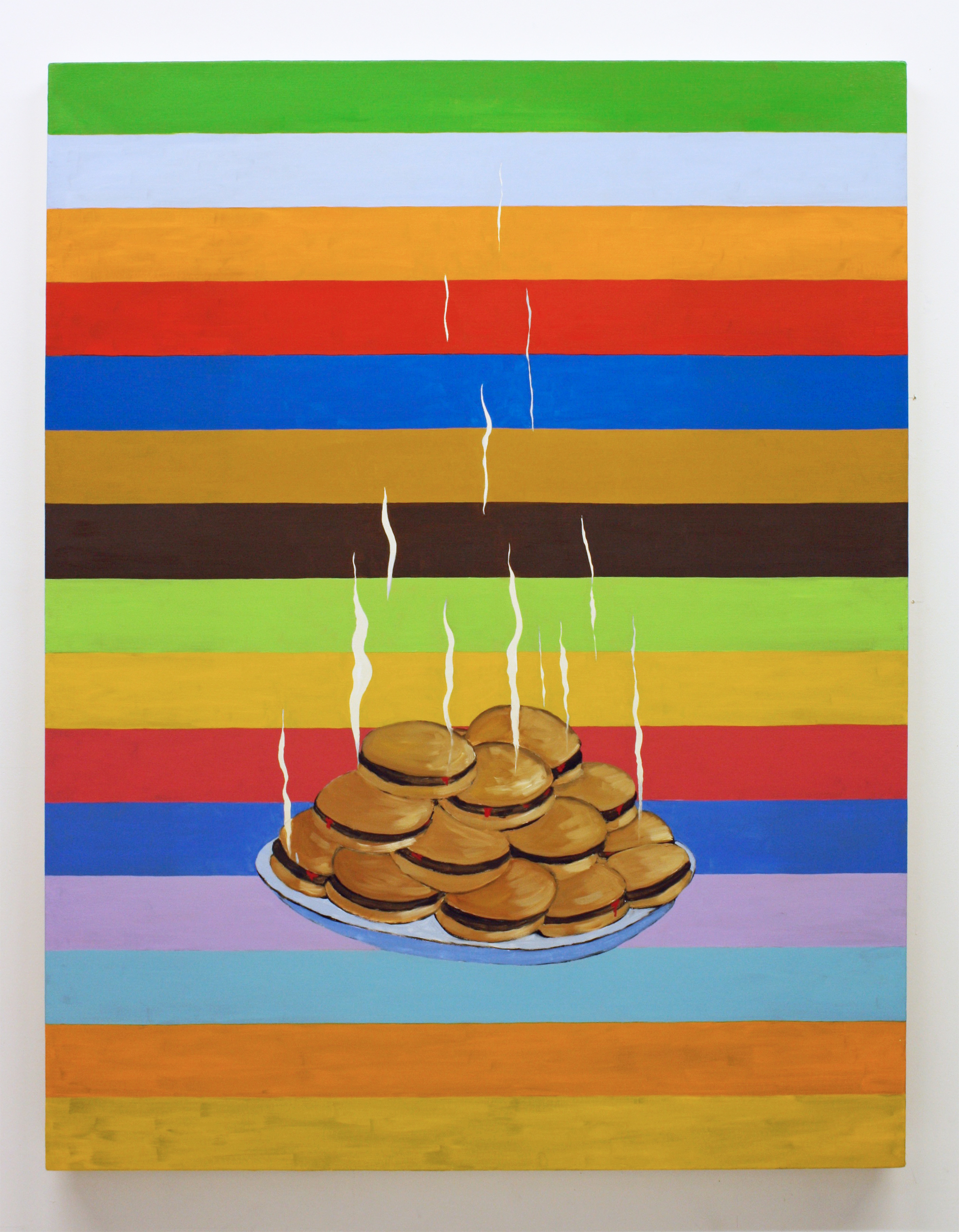 """""""Untitled, (Hamburgers)"""", 2017 , oil on canvas, 60 x 46 inches"""