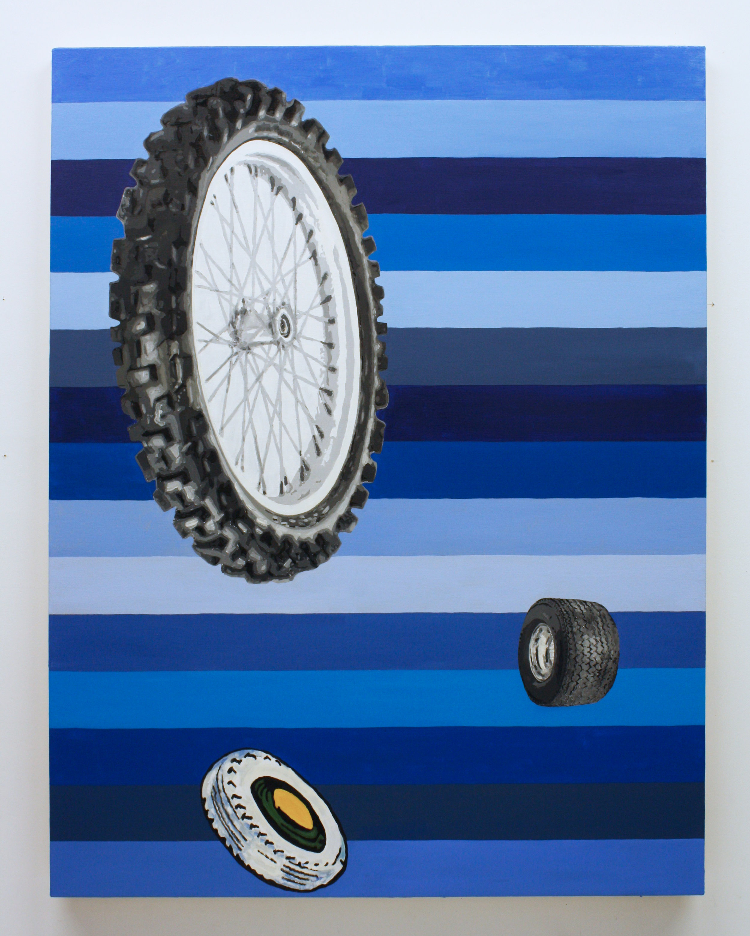 """""""Untitled, (Tires)"""", 2017 , oil on canvas, 60 x 46 inches"""