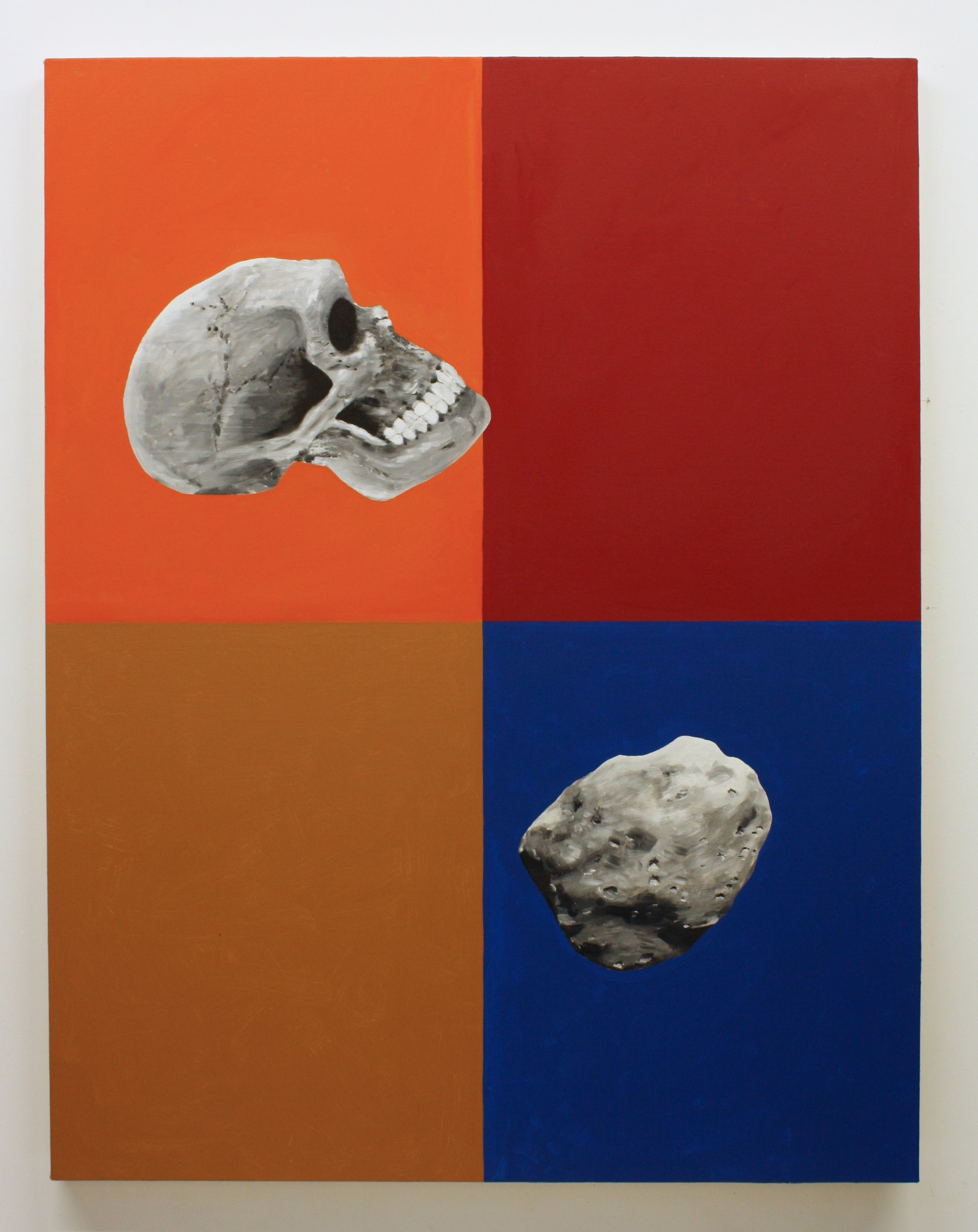 """""""Untitled, (Skull and Asteroid)"""", 2017 , oil on canvas, 60 x 46 inches"""