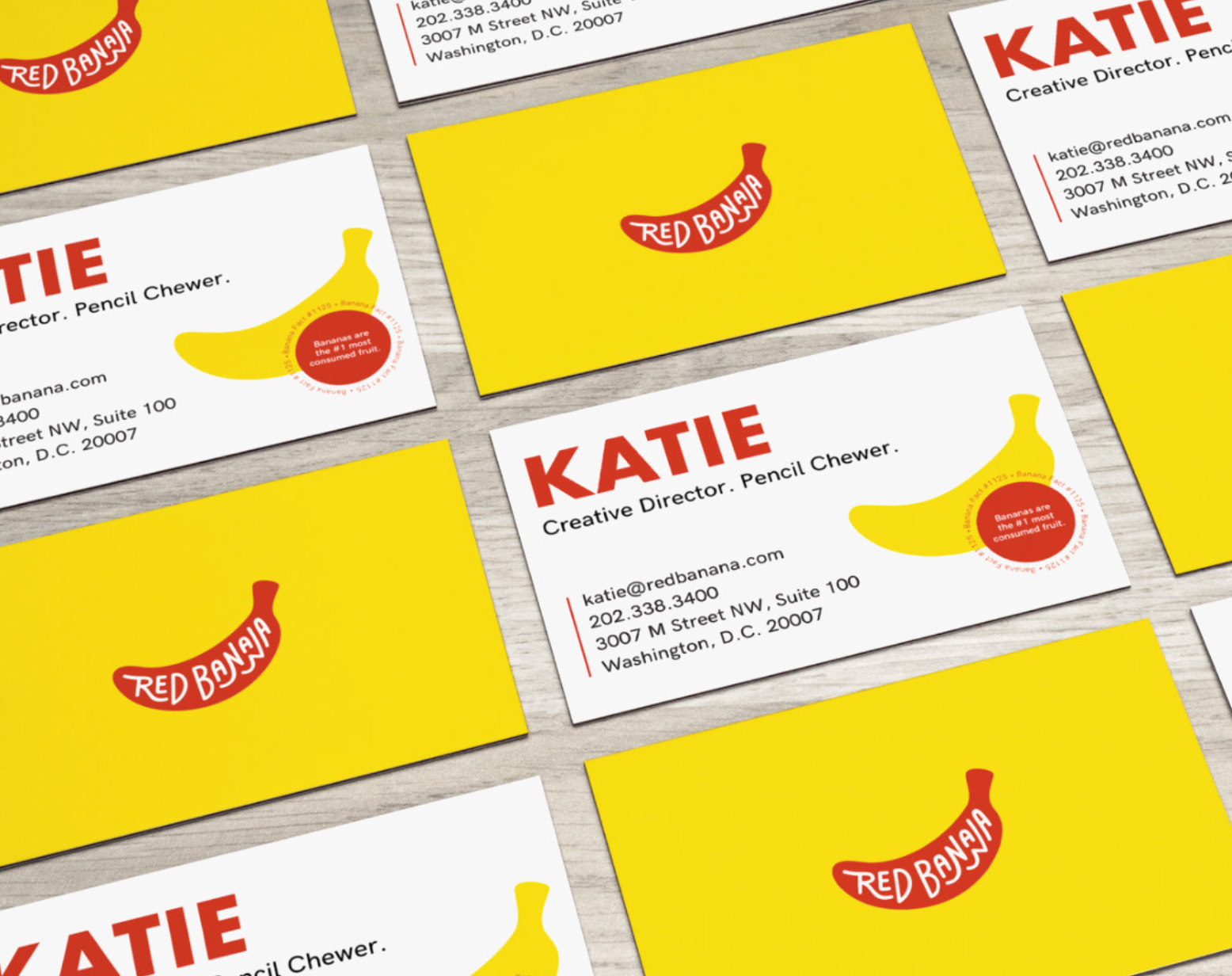 "Business Cards:  each card featured a unique ""banana fact"""