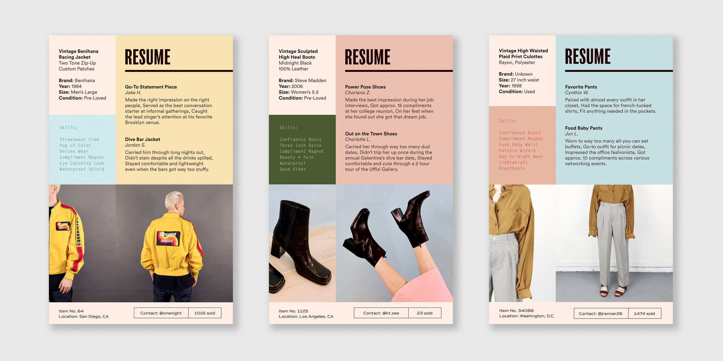 "Collateral:  Resumes to highlight each piece's ""experience,"" complete with personal references and relevant skills"