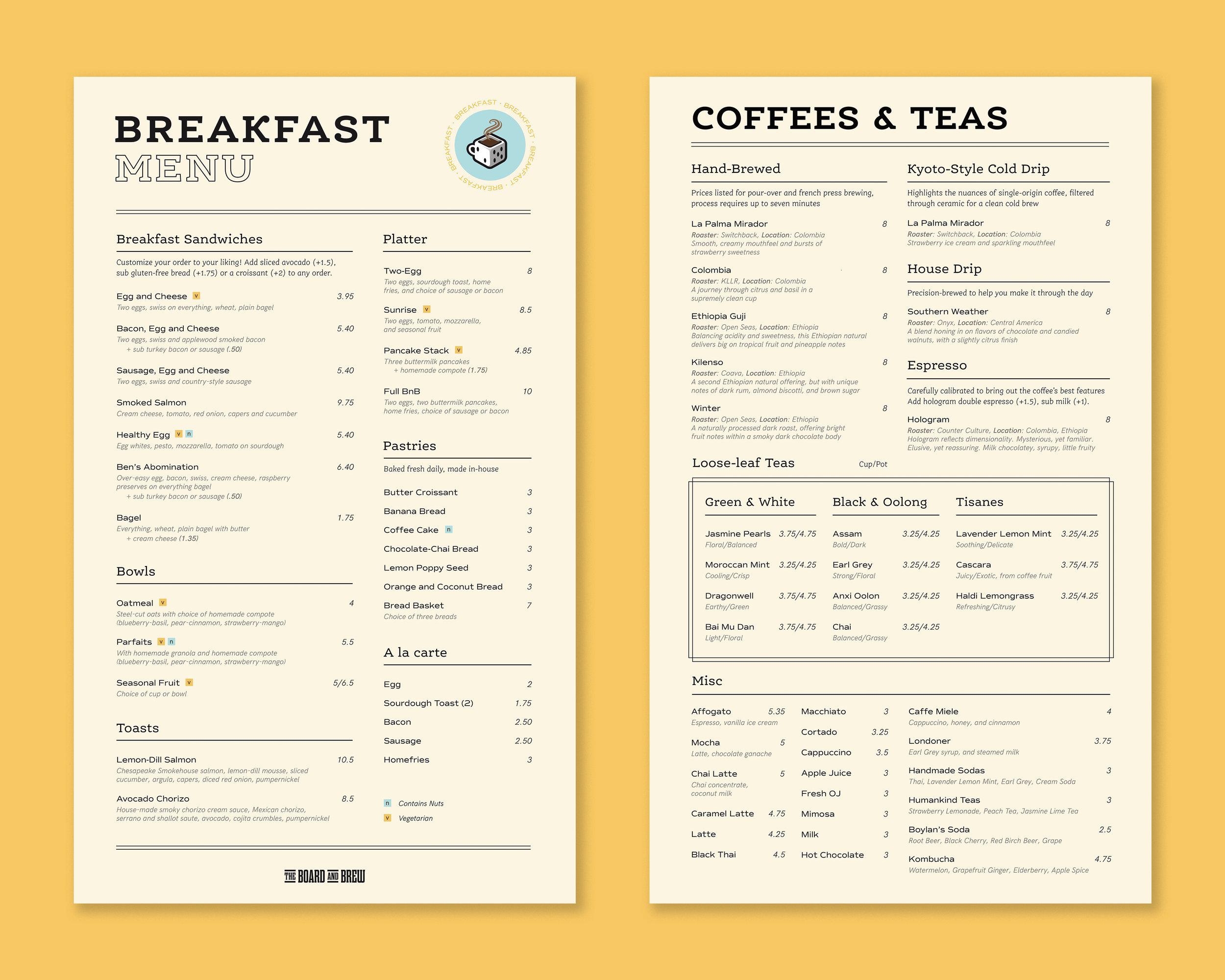 Menus:  Breakfast, Coffees/Teas