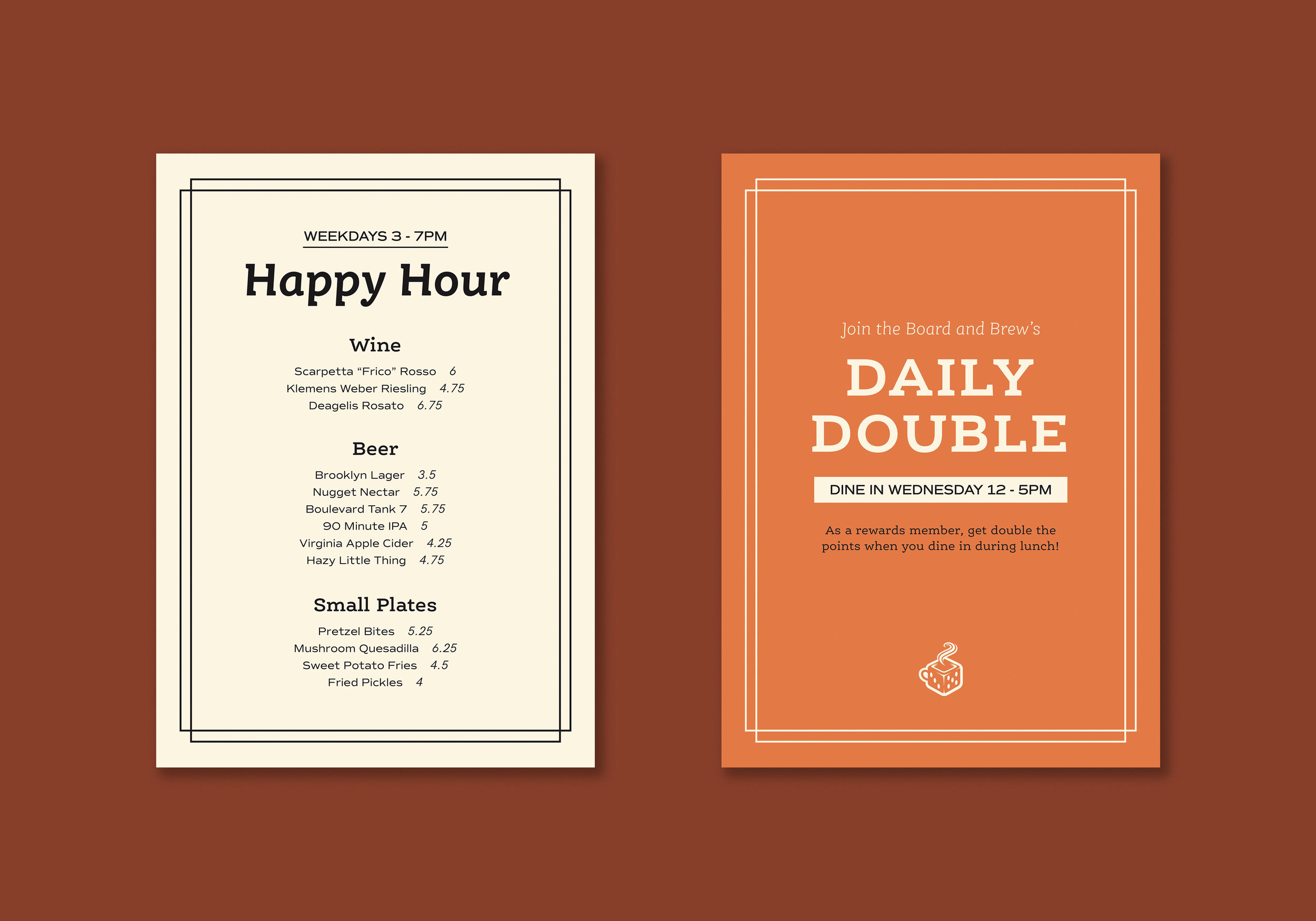 Tabletop Signage:  Happy Hour, Daily Specials