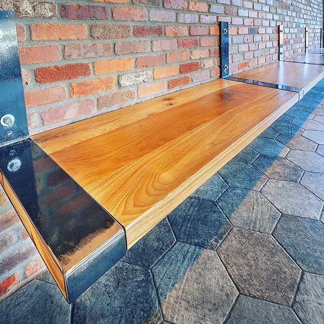 Simplicity meets modern industrial design in our waiting area bench for #thetangledwood restaurant. #industrialbench #restaurantfurniture #restaurantdesign #artisan #furnituredesign #furnituremaker #wood #woodworking #woodgrain #makersgonnashare #industrial #custommade #workshop #woodshop #industrialdesign #customfurniture #instadesign