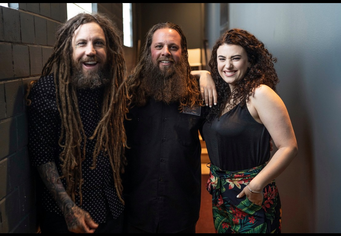 "Left to Right: Brian ""Head"" Welch of Korn, Pastor Daniel Petruska, Jennea Welch, Denver 2019"