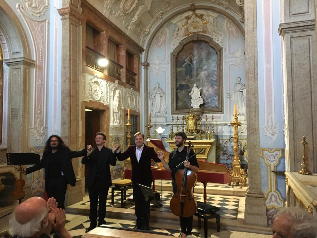 Festival Oeiras 1700 at Palacio Do Marquês De Pombalon 21 July - All-Handel programme with fabulous musicians Julian Perkins, Vladimir Waltham, and Jorge Jimenez in the stunning Baroque chapel of the Marques de Pombal in Oeiras, Portugal
