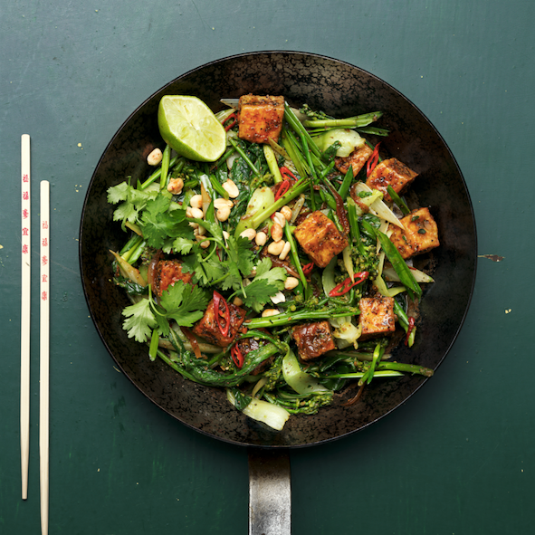 Pan-fried tofu with green vegetables