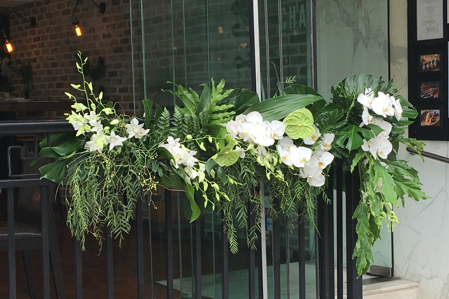White and Green Floral Runner