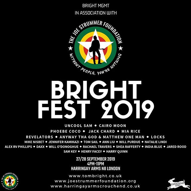 Buzzing to put my fundraising festival #BRIGHTFEST on for a second year later this month with @joestrummerfoundation ✊️ - 27/28 Sept | @harringayarmsn8! 💃🏻🕺 - So many amazing artists performing in the name of Strummerville. Free entry | donations welcomed to the charity to help them continue with their inspiring projects. ❤️ - #KnowYourRights #WithoutPeopleYoureNothing #NewMusic #NewArtists #NewFestival #KeepLiveMusicAlive #London